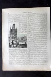 Blackie 1882 Antique Print. Prague with the Karlsbrucke, Czech Republic